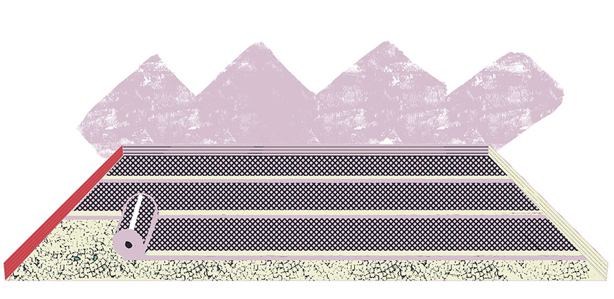 Illustration of landscaping fabric