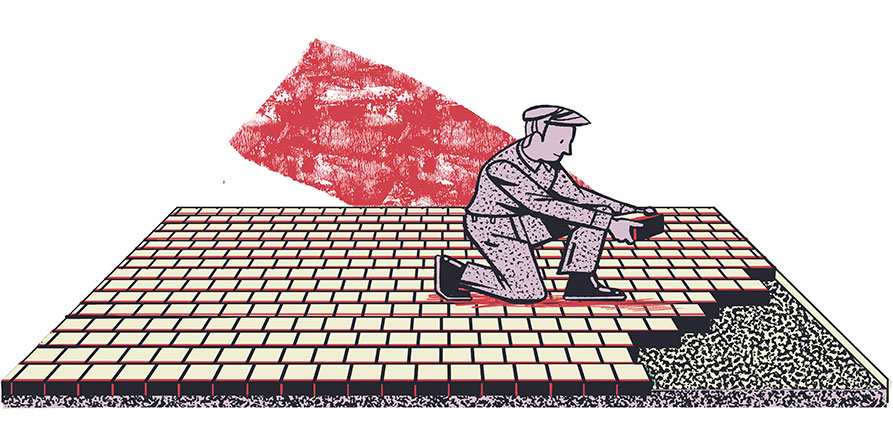 Illustration of laying bricks