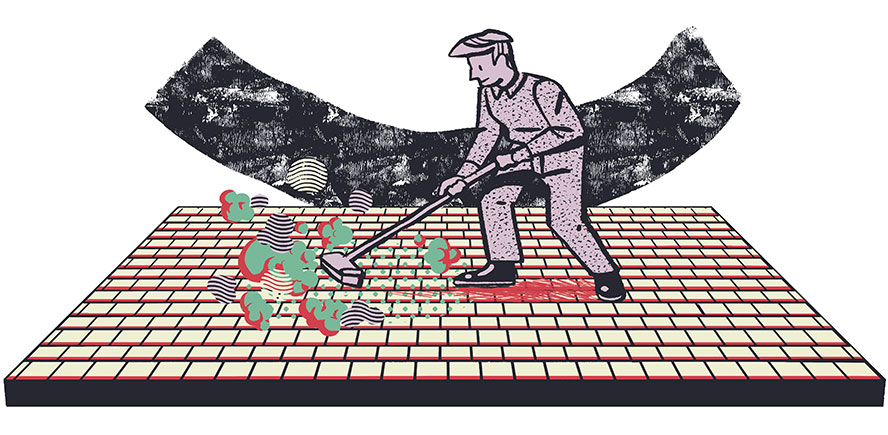 Illustration of sweeping polymeric sand into brick joints