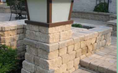 Retaining wall with outdoor light