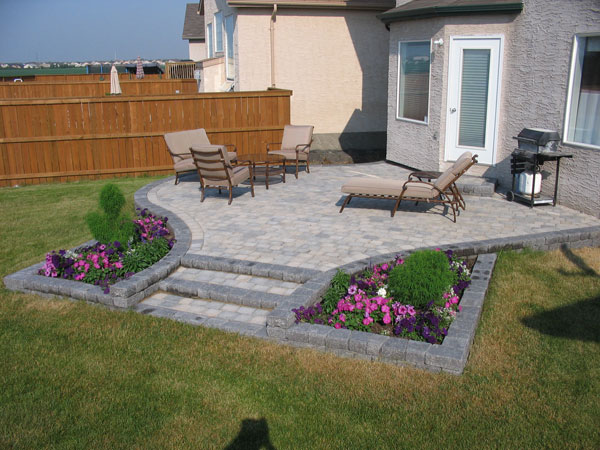 Terraced patio with shallow steps on Brian Monkman Bay