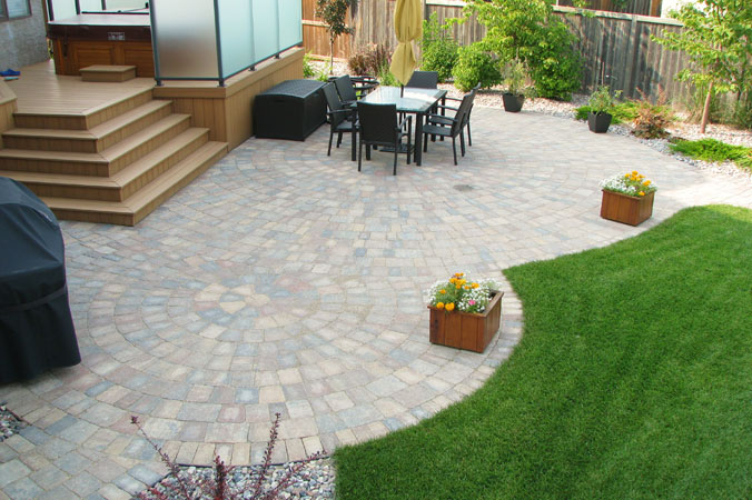 Composite deck combined with Roman circle patio on Castleton Court