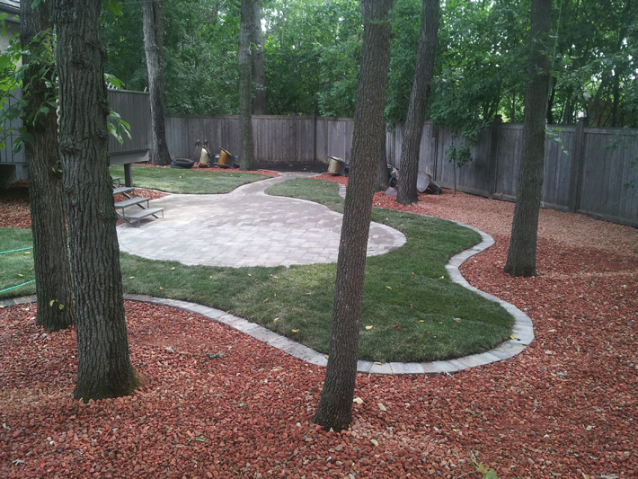 Treed park-like backyard landscaping with patio and stone path on Sanders Bay