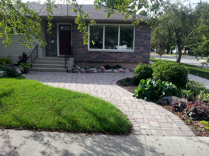 Patio and walkway using Roman pavers on Rothesay St